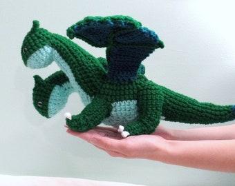 "Large Crochet Two-Headed Dragon Green Plush ""Garidon"""