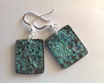 Moonscape, green patina earrings