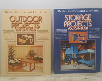 Better Homes and Gardens set of 2, project books, Storage Projects and Outdoor Projects, 1977,  Vintage DIY books