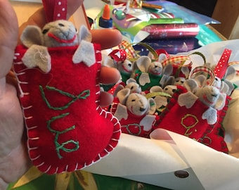 Personalized Stocking with Mouse Christmas Ornament