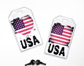 American Flag Luggage Tag, Team USA, US Womens Soccer, Americana Traveler Gifts