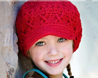 2T-4T Girls Winter Hat, Crochet Hat, newsboy hat, newsgirl hat, apple cap, red hat, hat with brim, childrens hat, child hat, winter hat
