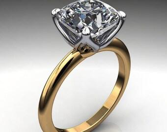 natalie ring - 2 carat cushion cut NEO moissanite engagement ring, 18k yellow gold, platinum