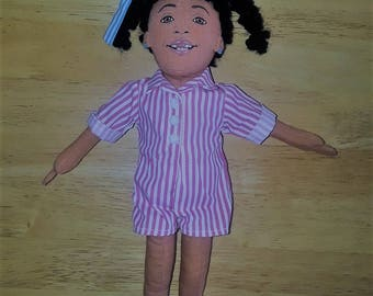 """African American soft cloth doll  11"""" tall - Adorable"""