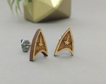 Star Trek StarFleet Insignia Post Earrings - Laser Engraved Wood Earrings - Hypoallergenic Titanium Post Earring Pair