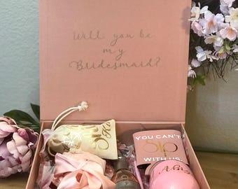 Large Bridesmaid Proposal Keepsake Box Sturdy Rose Gold Bridesmaid Proposal Box Wedding Party Gift Box Will You Be My Bridesmaid