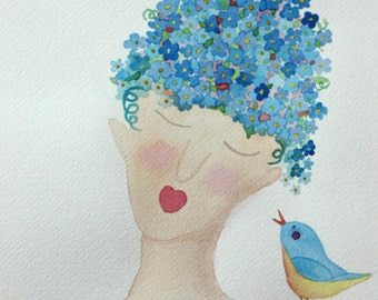 The Secret, girl and bird, original watercolor paining, forget me nots, flowers, blue bird, blues, whimsical, face, portrait