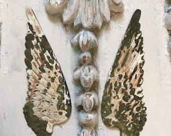 2 metal wings,aged patina wings,angel wings,wings,feathered wings,jewelry finding wings,cupid wings,bird wings,