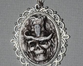 Skeleton   Cameo Necklace- Zombie Necklace - Creepy Skull Ghoul with Casket Motif Top hat Cameo