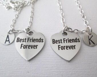 Best Friend Necklace, 2 Best Friends Forever- Initial Necklaces/ Friendship, friendship gift, friend necklace, friend, friend jewelry