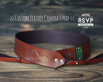 Custom Leather Camera Strap, Handmade personalized gift, Brown, Deer, hipster, stag, anthers, Custom text, name initials