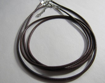 """SALE Brown Leather Cord 20"""";  2 mm Faux Leather Necklace Cord with Extender/CLB20"""