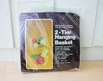 "Vintage new in packaging 2 tier hanging basket brass plated 10""-12"" fruit basket planter new old stock"