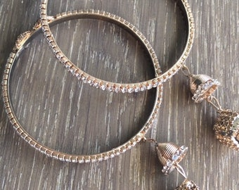 artistically handcrafted stone studded white bangles