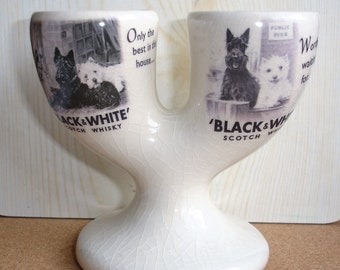 Buchanan's Black And White Scotch Whisky Double Egg Cup Staffordshire Collectable Vintage Advertising Buchanan's Scottie Dogs Brewerania