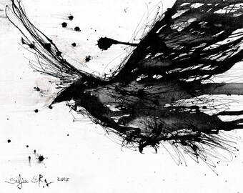 Crow painting - Ink on 8x12in canvas, A4, 20x30cm - abstract flying crow - sumi