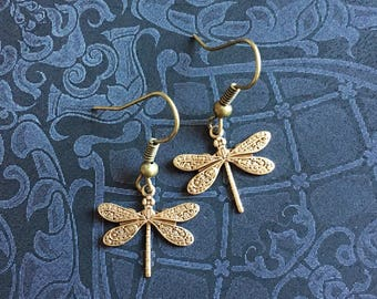 Gold Dragonfly Earrings, Antique Gold Jewelry, Steampunk Jewelry, Dragonfly Jewelry, Antique Gold Earrings, Dragonfly Earrings