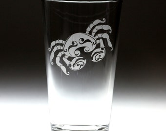 Custom personalized Cancer Crab astrological horoscope sign engraved glass