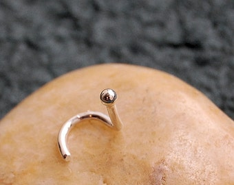 White Gold Nose Stud - SOLID White Gold Bud Nose Stud / Gold Nose Bone / Gold Nose Pin / Nose Jewelry/ Nose Ring - CUSTOMIZE