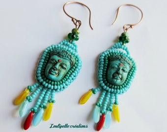 Embroidered turquoise Buddha earrings