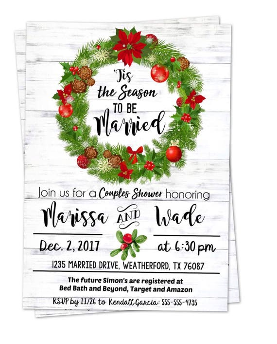 Christmas wedding wedding shower invitation tis the season like this item filmwisefo Image collections