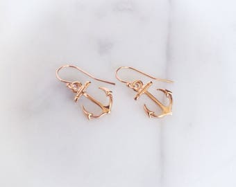 TRINITY - Tiny Glossy Rose Gold Anchor, Rose Gold Filled Earwire, Dangle Earrings