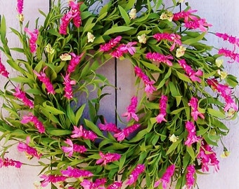Spring Front Door Wreath-Spring Floral Wreath-Spring Wreath-Spring Door Wreath-Spring Home Decor-Summer Wreath-PINK FLORAL Door Wreath