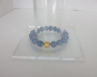 Gemstone Beaded Bracelet Aquamarine Beaded Bracelet Beaded Gemstone Stretch Bracelet Aquamarine Stacking Bracelet Gemstone Stack B0155