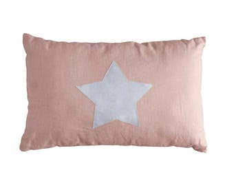 Dusty Pink Linen Cushion / Decorative Pillow / Pillow with Star / Linen Star Pillow / Pure Linen Pillow / Linen Home Decor / Pink Nursery
