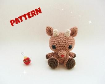 Amigurumi Reindeer Pattern, Rudolph Patter, Crochet Christmas Pattern, Amigurumi Rudolph Pattern, Amigurumi Christmas Pattern, Toy Pattern