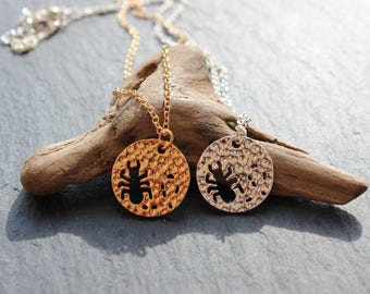 Ant chain hammered in gold or silver necklace