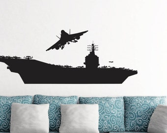 USS Aircraft Carrier American Fighter Jets, Military ship,  Removable Wall Decor Decal Vinyl Sticker