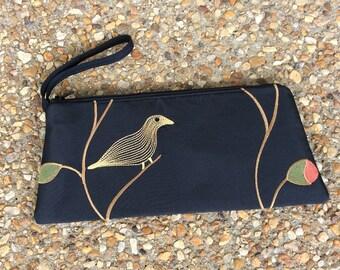Black Embroidered Bird Wristlet Clutch