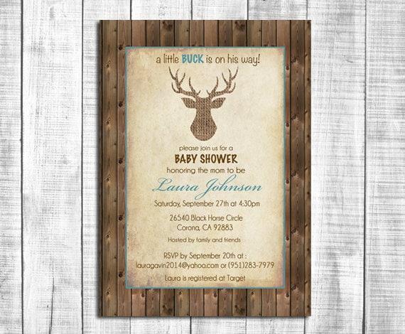 Rustic Deer Baby Shower Invitation Burlap Deer Wood