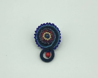 Hand Made Brooch With Coral, Agate and Crystals