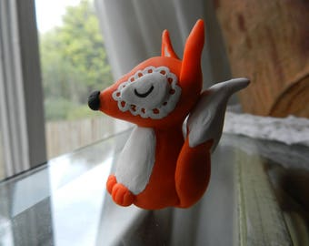 Summer Fox Clay Figurine, Handcrafted from Top Quality Polymer Clay