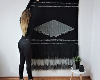 Large woven wall hanging, Large tapestry, tapestries black white, Wall tapestry, Macrame wall hanging, Woven wall decor, modern wall decor
