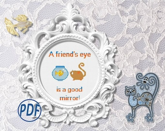 Friendship: cat and fish - cross stitch pattern pdf.