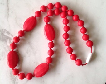 SALE! Silicone Teething Necklace - Red