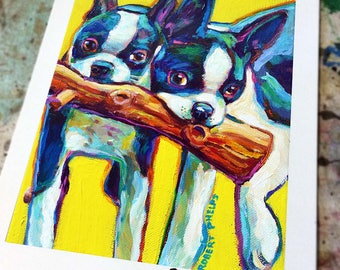 Cute and Colorful BOSTON TERRIER Art Print by Robert Phelps--Boston Terrier, Boston Terriers, Colorful Dog Art, Boston Terrier Painting