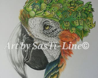 ARA-Doodles, limited edition, Doodle Art, pictures, drawing, surreal, coloured, animals, print, parrot