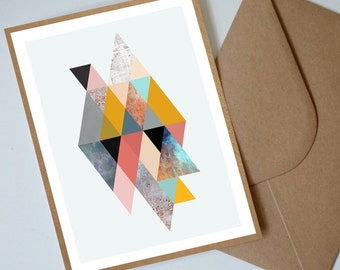 "Geometric Retro Triangles Note Card 5x7"", Birthday Card, Thank you Card, Penelope and the Ducks"