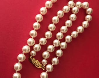 Creamy 8mm Pearl Bead Necklace Decorative Faux Pearl Bead Clasp