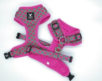 Watermelon Dog Harness, hot pink dog harness, soft dog harness, watermelon design