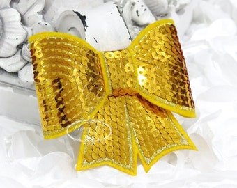 "Set of 2 - XL Sequin Bows - 3"" Metallic GOLDEN GOLD Yellow  Sequin Bow Tie Appliques. Hair Accessories. Diy Supplies. Large Sparkling Bow"