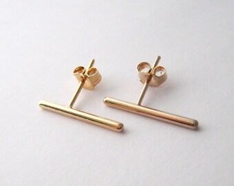 Bar stick stem Stud gold 750/000 line earrings 18 k