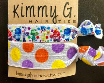 Inside out elastic hair tie set/inside out party favors/kid party favors/inside out foe