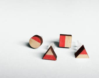 Geometric touch of red wooden earrings