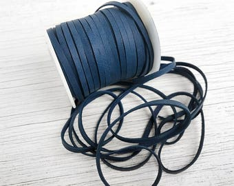 """Navy Blue Deerskin Cord, 1/8"""" Dark Navy Blue Deerskin Flat Leather Lace BY THE YARD, 3 Feet x 3mm Lace for Ties, Cord, Bead, Craft Supplies"""