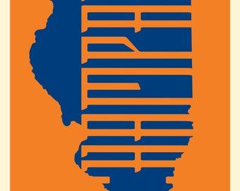 University of Illinois Urbana-Champaign Illini Custom Designed State of Illinois College Poster VARIOUS SIZES